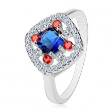 Strieborný prsteň 925, tmavomodrý stred, číre a červené zirkóniky