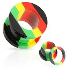 Šperky eshop - Akrylový tunel do ucha, pruhy červenej, žltej, zelenej a čiernej farby W03.01/07 - Hrúbka: 10 mm
