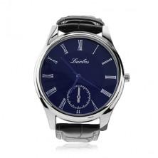 Pánske náramkové hodinky, čierny remienok, okrúhly modrý ciferník