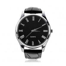 Náramkové hodinky, čierny koženkový remienok, okrúhly čierny ciferník