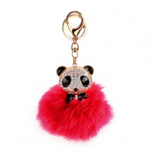Ružová kľúčenka s pandou - kožušinová loptička, karabínka zlatej farby