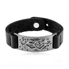 Čierny koženkový náramok, oceľová tmavosivá známka s ornamentom