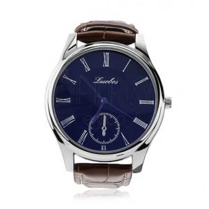 Pánske náramkové hodinky, okrúhly modrý ciferník, hnedý remienok
