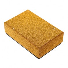 Šperky eshop - Darčeková krabička na set alebo náhrdelník - trblietavý povrch zlatej farby Y07.11