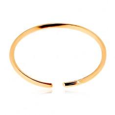 Piercing do nosa zo žltého 14K zlata - lesklý tenký krúžok, hladký povrch