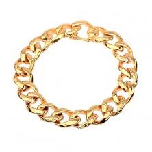 Náramok z ocele 316L  zlatej farby - hrubá reťaz zdobená hadím vzorom