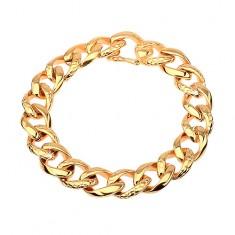 Šperky eshop - Náramok z ocele 316L zlatej farby - hrubá reťaz zdobená  hadím vzorom AA36.04 fb3ed8e56f9