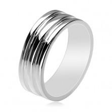 Strieborný 925 prsteň - obrúčka s dvomi vyhĺbenými pásmi, 8 mm