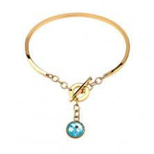 Oceľový náramok zlatej farby, neúplný ovál s visiacim modrým zirkónom