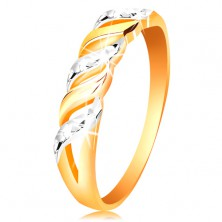 Prsteň zo zlata 585 - vlnky z bieleho a žltého zlata, ligotavé zárezy