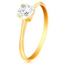 Prsteň v žltom 14K zlate - žiarivý číry zirkón v lesklom vyvýšenom kotlíku