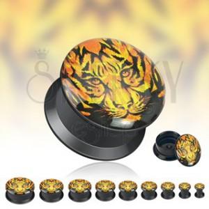 Čierny tunnel do ucha - tvár tigra