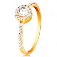 Prsteň v 14K zlate - okrúhly zirkón v trblietavej obruči, zirkónové ramená
