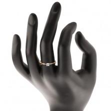 Zlatý 14K prsteň - úzke vypuklé ramená, zirkón v kotlíku z bieleho zlata