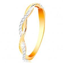 Prsteň zo 14K zlata - dve tenké prepletené vlnky - hladká a zirkónová