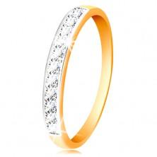 Zlatý 14K prsteň - ligotavý pás z čírych zirkónov s obrubou z bieleho zlata