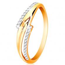 Prsteň zo 14K zlata, zvlnené dvojfarebné ramená, číre zirkónové línie