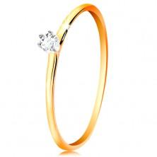 Zlatý prsteň 585 - číry zirkón v kotlíku z bieleho zlata, tenké ramená