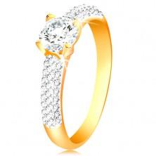Zlatý 14K prsteň - trblietavé ramená, vyvýšený okrúhly zirkón čírej farby
