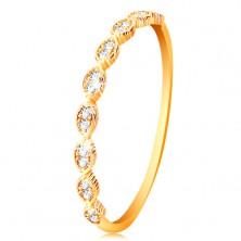 Prsteň v žltom 14K zlate - spájané zrnká so vsadenými zirkónikmi