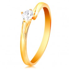 Prsteň zo žltého 14K zlata - ligotavý zirkón čírej farby v lesklom kotlíku