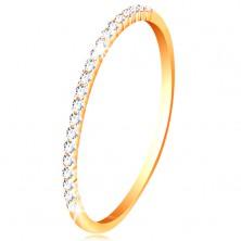 Prsteň v žltom 14K zlate - trblietavá línia drobných čírych zirkónikov