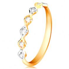 Šperky eshop - Zlatý 14K prsteň - dvojfarebné zrnká so vsadenými zirkónmi, vysoký lesk GG200.66/73 - Veľkosť: 50 mm