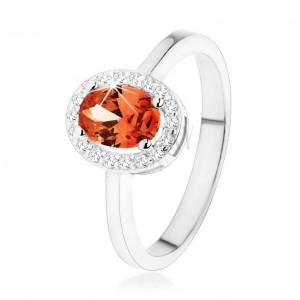 Strieborný prsteň 925, tmavo oranžový oválny zirkón, číry ligotavý lem
