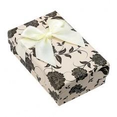 Šperky eshop - Krabička na set alebo retiazku, béžovo-čierna s motívom kvetov Y07.12
