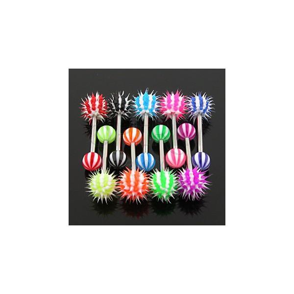 Piercing jazyka - farebný pruhovaný ježko