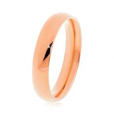 Šperky eshop - Oceľový prsteň v medenom odtieni, hladký vypuklý povrch, 4 mm K07.04 - Veľkosť: 49 mm