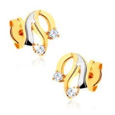 6cd0d6295 Šperky eshop - Diamantové zlaté náušnice 585 - lesklé zvlnené línie,  trblietavé číre brilianty BT501