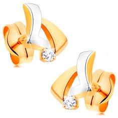 Šperky eshop - Briliantové zlaté náušnice 585 - asymetrický trojuholník, okrúhly číry diamant BT501.38