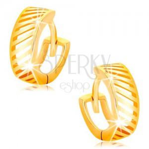 Zlaté okrúhle náušnice 585 - tenké diagonálne výrezy, lesklý povrch