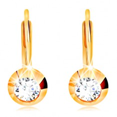2942abc55 Šperky eshop - Zlaté náušnice 585 - okrúhla ligotavá objímka, brúsený číry  zirkón GG15.