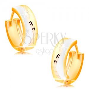 Trojfarebné kĺbové náušnice zo 14K zlata - matné krúžky s ligotavou vlnkou v strede