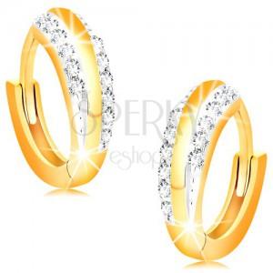 Kĺbové náušnice zo 14K zlata - lesklé krúžky s líniami čírych zirkónov