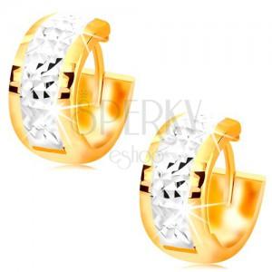 Náušnice zo zlata 585 - širšie krúžky zdobené bielym zlatom a zárezmi