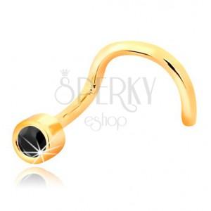 Piercing do nosa zo žltého 14K zlata - zahnutý tvar, čierny zafír v objímke