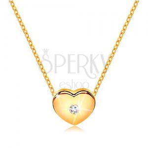 Briliantový náhrdelník zo žltého 14K zlata - srdiečko s čírym diamantom, retiazka