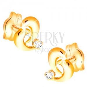 Briliantové zlaté náušnice 585 - obrys nepravidelného srdca, diamant čírej farby