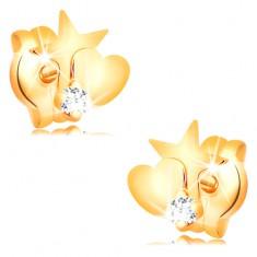 9d385e8c8 Šperky eshop - Zlaté diamantové náušnice 585 - hviezda a srdce, okrúhly  číry briliant BT501