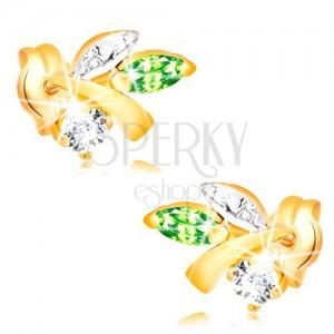 Zlaté náušnice 585 - vetvička s listami, zelený smaragd, číry diamant