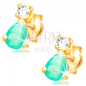 Náušnice zo žltého 14K zlata - slzičkový zelený smaragd, okrúhly číry diamant