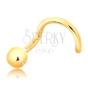 Zlatý zahnutý piercing do nosa 585 - lesklá guľôčka, 2,5 mm