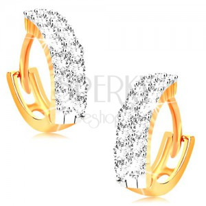 Náušnice v žltom 14K zlate - malé krúžky zdobené čírymi zirkónmi