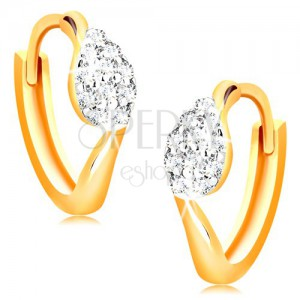 Kĺbové náušnice zo 14K zlata - krúžky s kvapkou z čírych zirkónikov