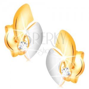 Zlaté 14K náušnice s ligotavým diamantom, dvojfarebné oblúky, puzetky