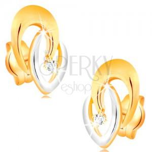 Náušnice zo 14K zlata - spojené dvojfarebné podkovy a číry žiarivý briliant