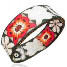 Náramok Fimo hrubý červené, biele a čierne kvety